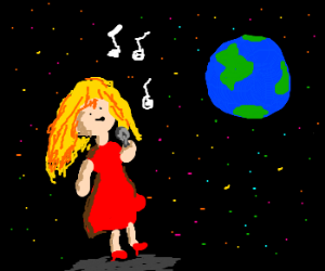 Lady in red sings lovesong to Earth