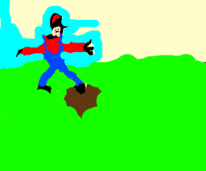 Mario stepping in vomit