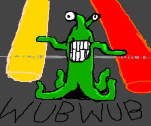 Green alien wub wubbing