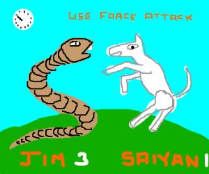 Earthworm Jim fights super saiyan horse