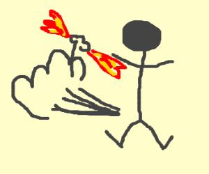 blue poop holding fire runs away frm man