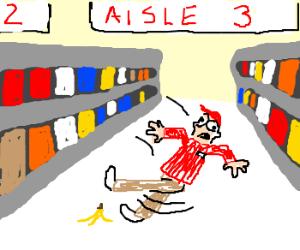 Supermarket employee falls down
