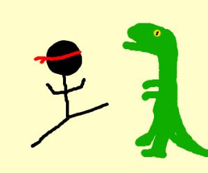 Ninja Stickman Fighting Dinosaur Drawing By Matt9383 Drawception