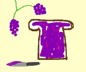 Bread with grape jam