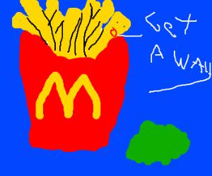 Fry yells at green goo