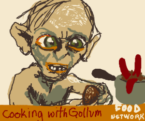Gollum adds potatoes tohis franks'nbeans