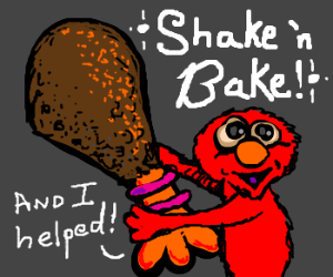 Elmo uses ShakeNBake to Prepare Big Bird