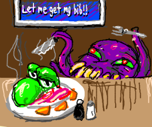 Ultros makes a meal of Yoshi.