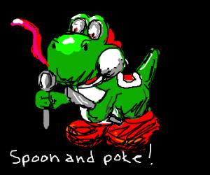 Yoshi has played knifey-spooney before