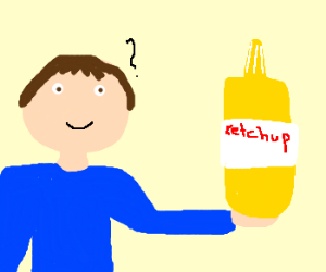 Man holds mislabled mustard