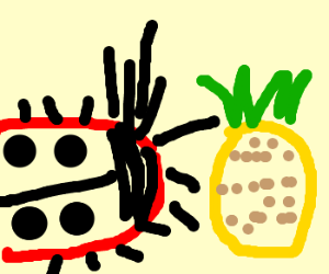 mutant ladybird eats a large pineapple