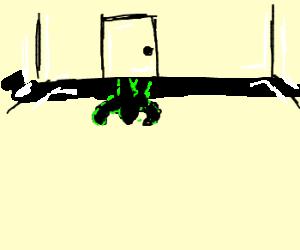 Ceiling Hulk's shadow leaves thru wall.