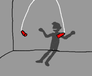 Invisible man greatly enjoys jump rope.