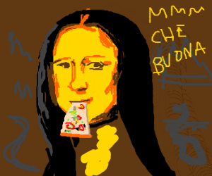 Mona Lisa's really Italian: Eating pizza