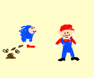Sonic poops in front of Mario