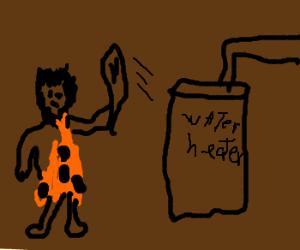 Caveman beats up water heater