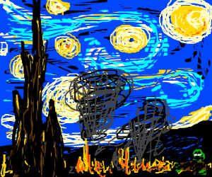 Van Gogh's starry night after apocalypse