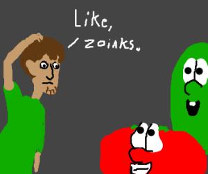 Brunet Shaggy meets the VeggieTales gang