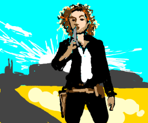River Song with gun in the wild west