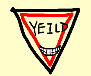 """Smiling misspelled """"Yield"""" sign"""