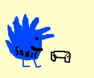 Sonic playing arcade