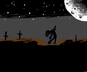 Gravedigger burying the dead