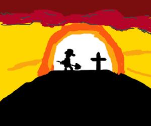 Gravedigger at sunset