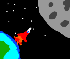 Rocket blasting off, about to hit moon