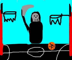 Death visits a basketball court.