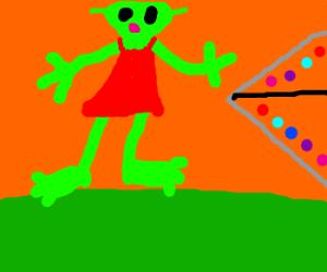 Alien in a red dress.