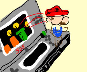 Mario comes out of a 3DS