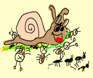 Snail running over tiny ant corpses