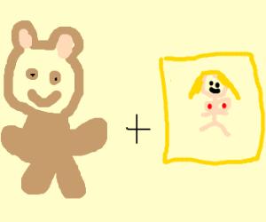 Teddy bear enjoys porn magazine