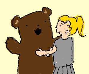 Teddy bear likes girl with tumors