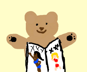 Teddy bear loves Adult magazines.