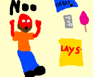 Red bearded man is scared of junk food