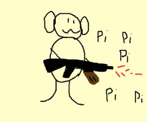 A monkey with an AK-74u