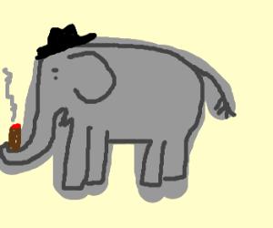 Mafia Elephant Smoking a Cigar