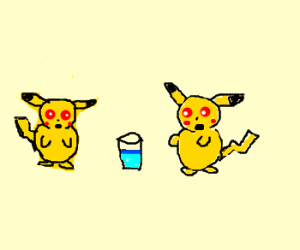 Spooky pikachus offer a glass of water