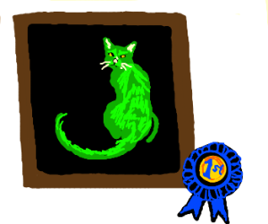 green cat painting gets first place
