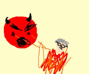 Demon child ignites his grandmother.