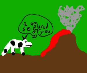Angry cow dino is pissed at volcano