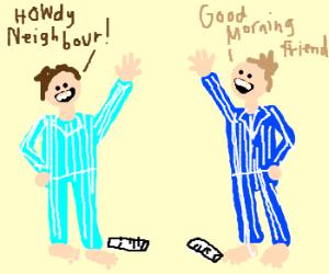 Two men in pijama salutation.