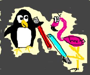 Penguin vs Flamingo jedi duel.