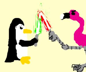 Penguin vs flamingo in lightsaber combat