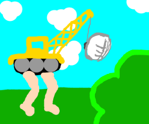 metal crane with legs gives egg to bush