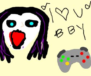 goth girl serenading game controller