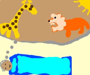 Man dreams of lion and giraffe in sun.