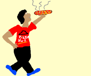 Man holding a very hot pizza.