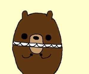 Bear has cheek to cheek straight face.